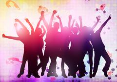Dancing people silhouettes Stock Illustration