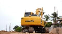 Excavator Working on the Beach. Thailand. Stock Footage