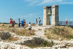 Tourists stroll through the ruins of the ancient city of chersonesos Stock Photos