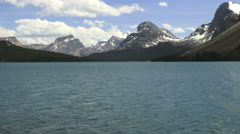 Canada Icefields Parkway Bow Lake and mountain peaks view s Stock Footage
