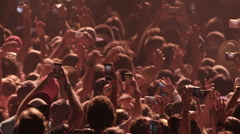Crowd Concert Fans Cheering Audience in Music Show Coachella Slow Motion Stock Footage