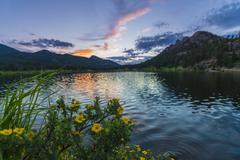 Lilly lake at sunset - colorado Stock Photos