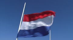 Dutch flag at half-mast - low angle Stock Footage