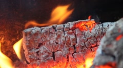 Fire. Coals of Firewood is beautifully burning in fire. Stock Footage