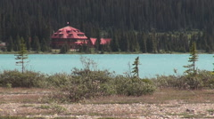 Canada Icefields Parkway Num-ti-jah Lodge with red roof at Bow Lake s - stock footage