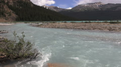 Canada Icefields Parkway rushing waters at Bow Lake Stock Footage