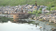 Water drainage drain lake Stock Footage
