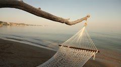 Hammock Summer Net in the beach Stock Footage