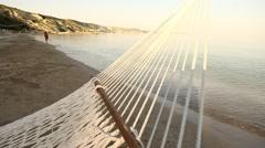 Hammock Summer Net in the beach - stock footage