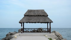 Tropical Gazebo on Pier - stock footage