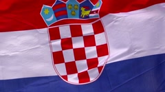 Flag of Croatia in the wind against sky Stock Footage