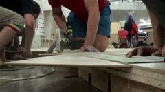 Sawing using an Electric Circular Saw. Closeup. Stock Footage