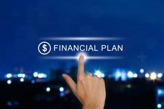 hand pushing financial plan button on touch screen - stock illustration