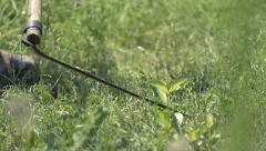 Farm mowing scythe in hot summer day Stock Footage