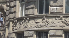 Bas-relief on the wall of the house Stock Footage