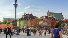 The Castle Square with Sigismund's Column in the old town of Warsaw, timelapse Stock Footage