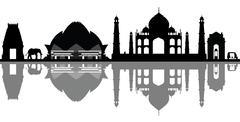new delhi india skyline - stock illustration
