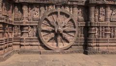 Beautiful historical chariot wheel and  Carvings in Sun temple, Konark, India Stock Footage