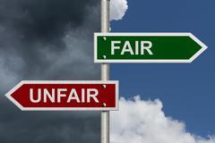 Fair versus unfair Stock Illustration