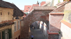 Passageway, old fortress walls,medieval town,historic center,architecture Stock Footage