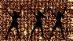 Dancers animation Golden Reflective background Stock Footage