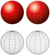 Red Sphere With Meridians - stock illustration