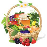 fruit basket - stock illustration