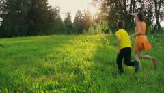 Two cute kids dreaming, future, freedom, playing with a paper plane, childhood Stock Footage