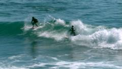Stock Video Footage of 2 Surfers Surfing in San Jose Del Cabo