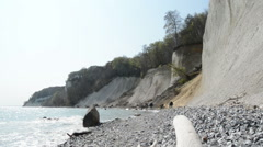 Ruegen Island along the chalk cliff rocks Stock Footage