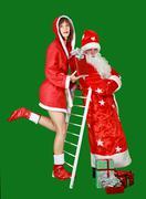 Santa claus and snow maiden Stock Photos
