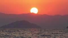 Real-time Sunset Over Mediterranean Ocean and Turkish Mountains (part 3 of 6) Stock Footage
