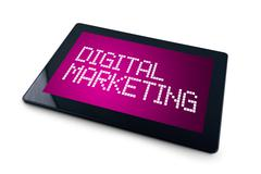 Digital marketing on generic tablet computer display Kuvituskuvat