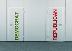 democrat or republican, concept of choice - stock photo