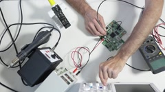 Development of electronic devices in the modern electronics laboratory, on a tab Stock Footage