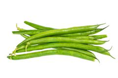 fresh picked green beans isolated - stock photo