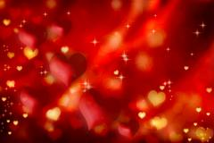 red hearts background - stock illustration