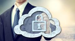 Secure online cloud computing concept Stock Photos