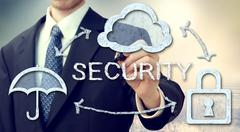 Secure online cloud computing concept Stock Photos