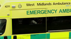 Look inside the ambulance through the open window - West Midlands Services. Stock Footage