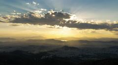 4K Athens skyline sunset timelapse with rays sun beams 1 Stock Footage