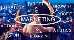 Businessman pointing marketing chart Stock Photos