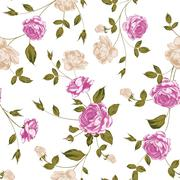 Seamless texture of pastel roses for textiles - stock illustration