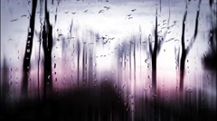 Abstract trees landscape with rain drops Stock Footage