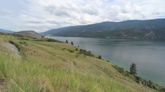 British Columbia Kalamaka Lake Okanagan with boat Stock Footage