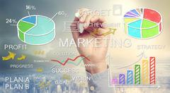 hand drawing business marketing concepts - stock photo