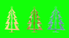Christmas tree. Christmas toys. Green background. Loop. - stock footage