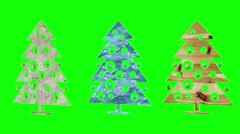 Christmas tree. Christmas toys. Green background. Loop. Stock Footage