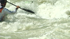 Wildwater canoeing man slow motion 34 Stock Footage