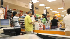 market store place grocery, at the cashier - stock footage